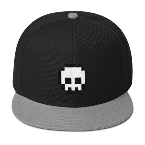 Pixel Skull Snapback Hat