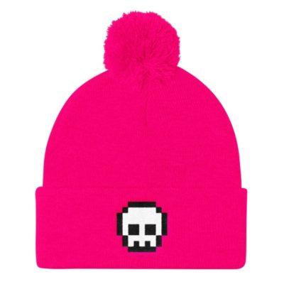 Pixel Skull Pom Pom Hat